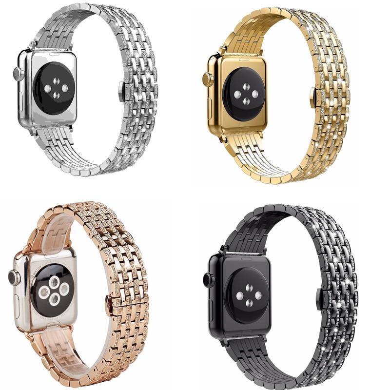 Bracelets de montre diamant strass cristal série 5/4/3/2/1 Bracelet en acier inoxydable pour bracelets de montre Apple 38mm 42mm 40mm 44mm