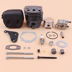 Kit de soporte de carburador silenciador de pistón de 46mm para motosierra HUSQVARNA 51 55, Kit de reconstrucción de Motor 503 60 91-72