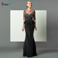 DressV Appliques Black Mermaid Evening Dress Half Sleeves Button Formal Party Dress Ruffles Lace Trumpet Long