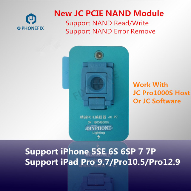 US $145 0 |PHONEFIX JC P7 PCIE Nand Test Fixture Pro1000S NAND Read Write  Error Remove Tool for iPhone 6S 6SP SE 7 7P iPad Pro NAND Repair-in Hand