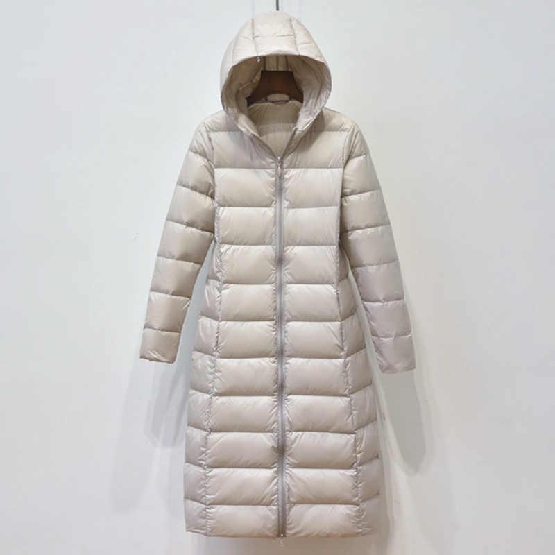 Moderna Chaqueta larga de plumón de pato blanco para mujer, chaqueta ultradelgada y fina con capucha y plumas, chaqueta informal cálida y suave a prueba de viento, Outwea