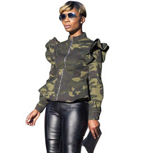 Plus Size Women Camouflage Bomber Jacket Long Sleeve Stand Collar Ruched Zipper Streetwear Short Coats and Jackets Outerwear stand collar plus size 3d flower and leopard print jacket