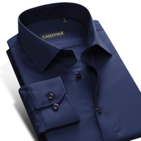 Men S Easy Care Broadcloth Dress Shirt Dark Blue Long Sleeve Slim Fit Male Business Office