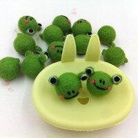 Yeni 10 Adet 30 MM 3D Sevimli Hayvan Kurbağa Kafa Yün Keçe Zanaat Bebek El Yapımı DIY Takı Süs Aksesuarları Saç elastik Bant