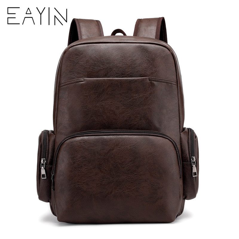 Men <font><b>Backpacks</b></font> <font><b>Leather</b></font> Korean Style Fashion Notebook Bags For Teenager Boys Luxury Brand Travel Men Women Shoulder Bags image