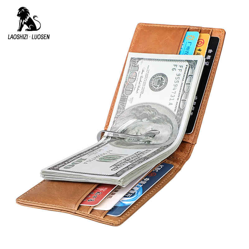 Fashion Money Clip Magnet Clip Women Men Wallet Genuine Leather Ultrathin Clamp Credit Card Case Mini Creative Wallet Purses