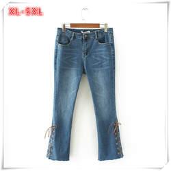 XL-5XL Женские повседневные джинсы плюс Размеры Для женщин джинсовые штаны Мотобрюки середины талии Тонкий стрейч Джинсы для женщин женские