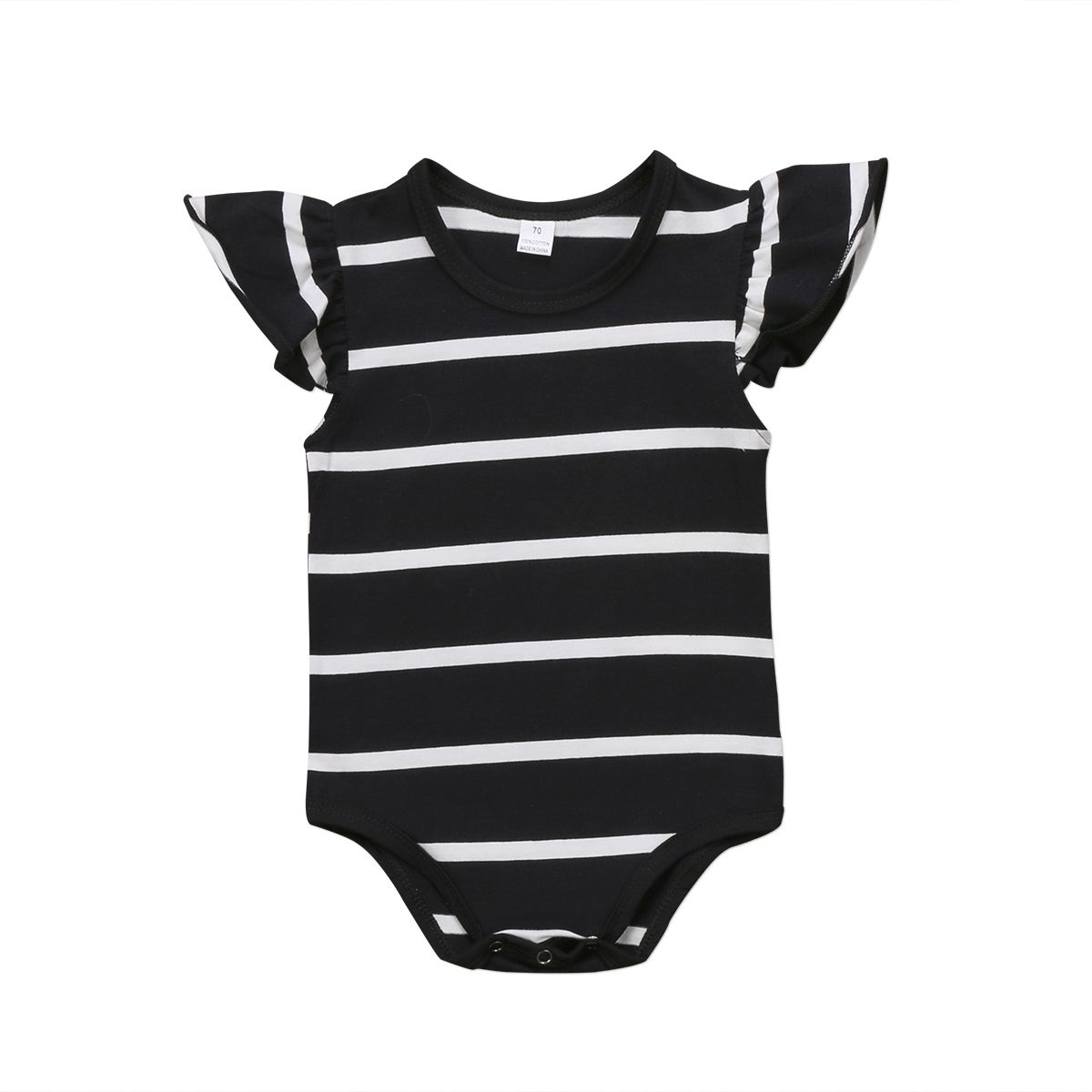 Brand New Cute Baby Girls Clothes 0-18M Infant Baby Girls Romper Short Ruffle Sleeve Jumpsuit Girls Striped Cotton Clothing