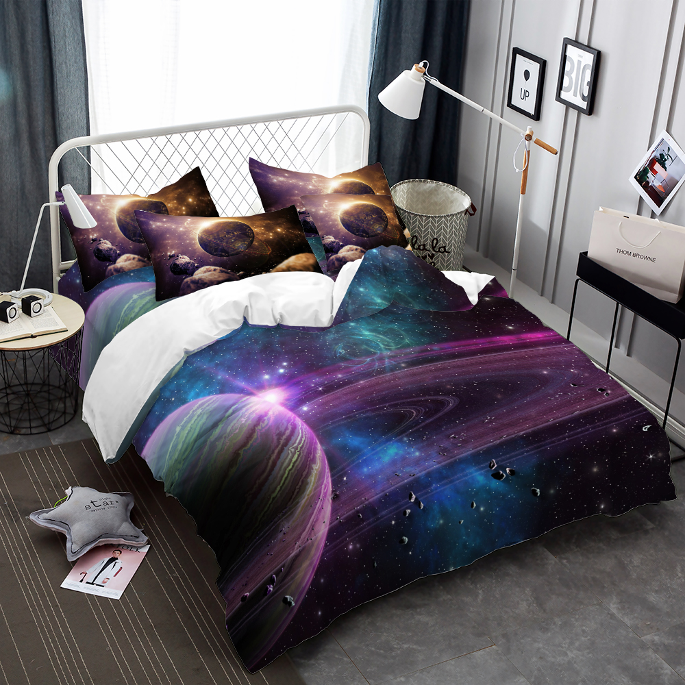Colorful Planet Star Print Bedding Set 3D Galaxy Duvet ...