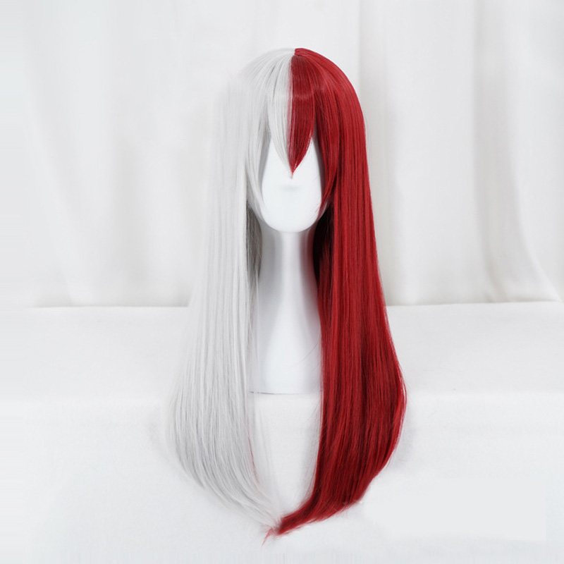 My Hero Academia Todoroki Shoto Women Long Wig Cosplay Costume Boku no Hero Academia Red White Hair Halloween Party Wig +Wig Cap