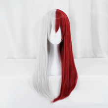 My Hero Academia Todoroki Shoto Women Long Wig Cosplay Costume Boku no Hero Academia Red White Hair Halloween Party Wig +Wig Cap