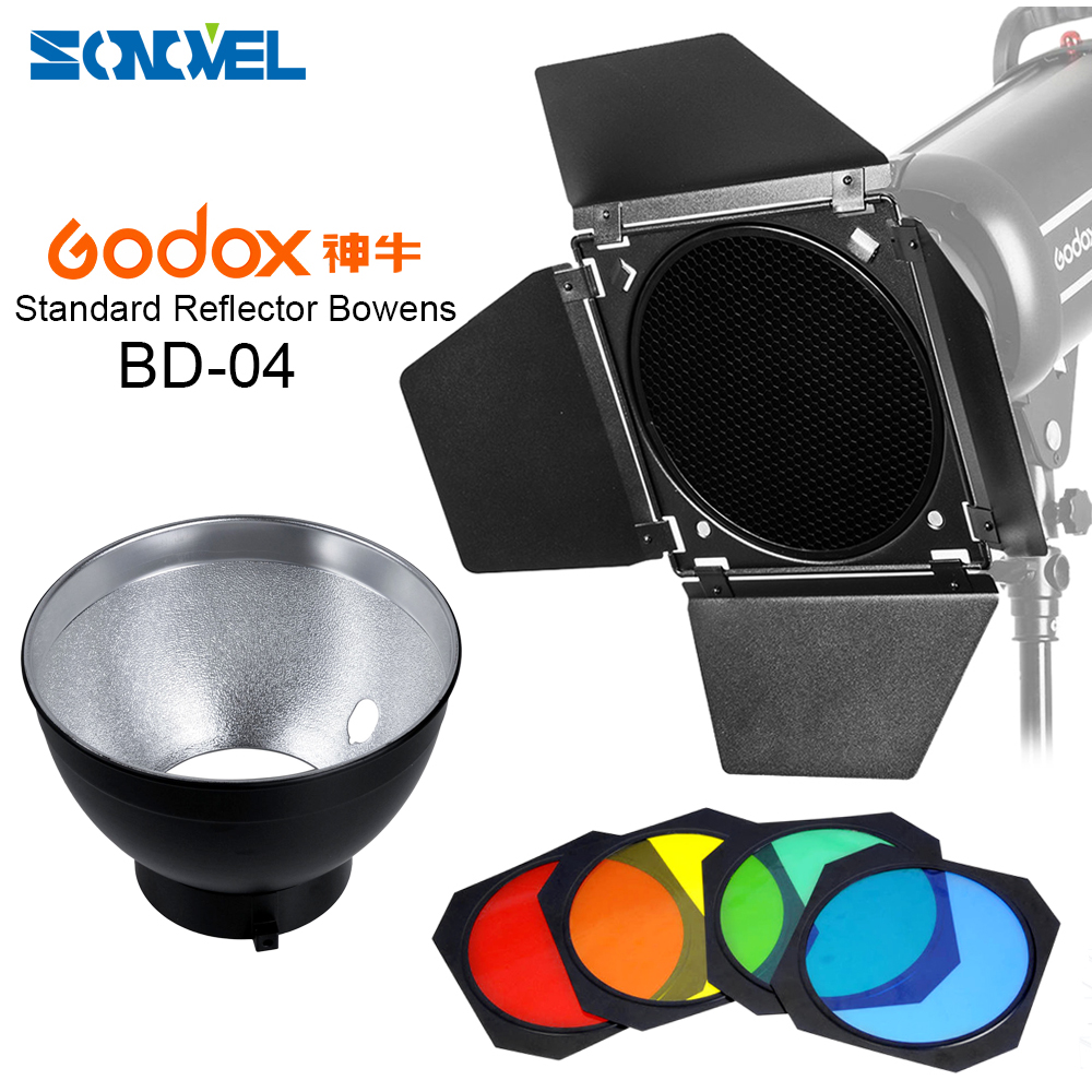 Godox BD 04 Barn Door Honeycomb Grid 4 color Filter Bowens Mount Reflector for Studio Flash