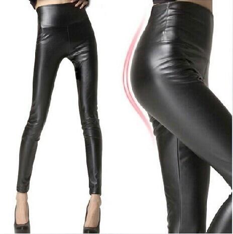 glanzende zwarte broek