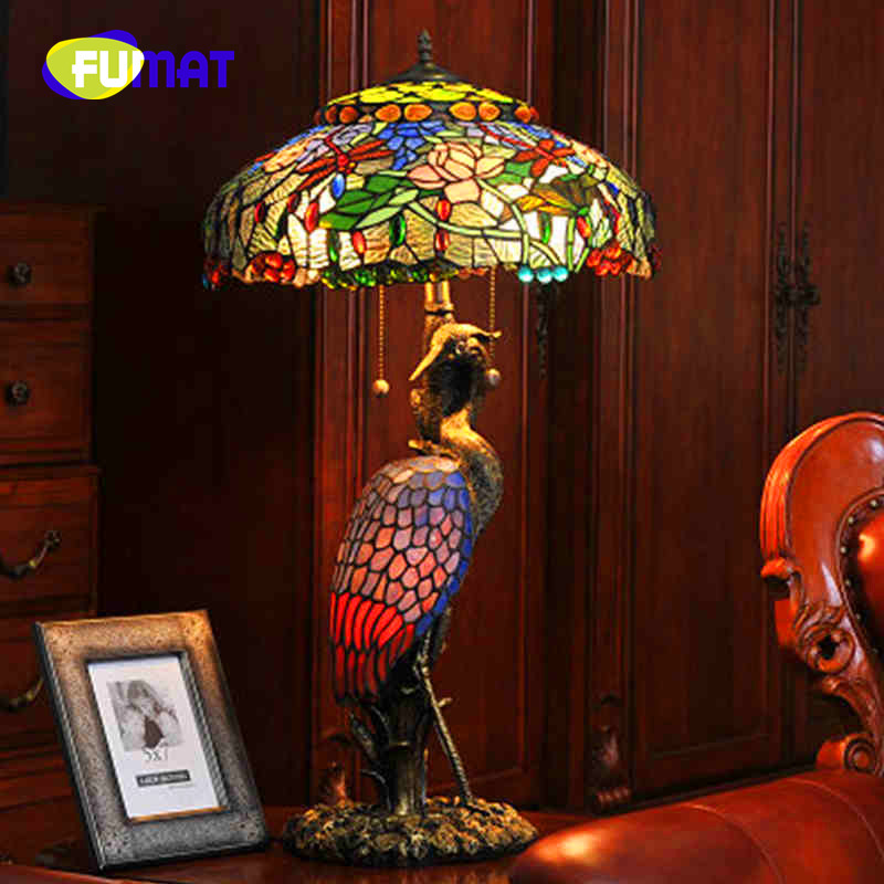 FUMAT Tiffany Hand Art Living room Decoration Stained Glass Male and Female Crane Table Lamp Study room Bedroom Warm Bedside