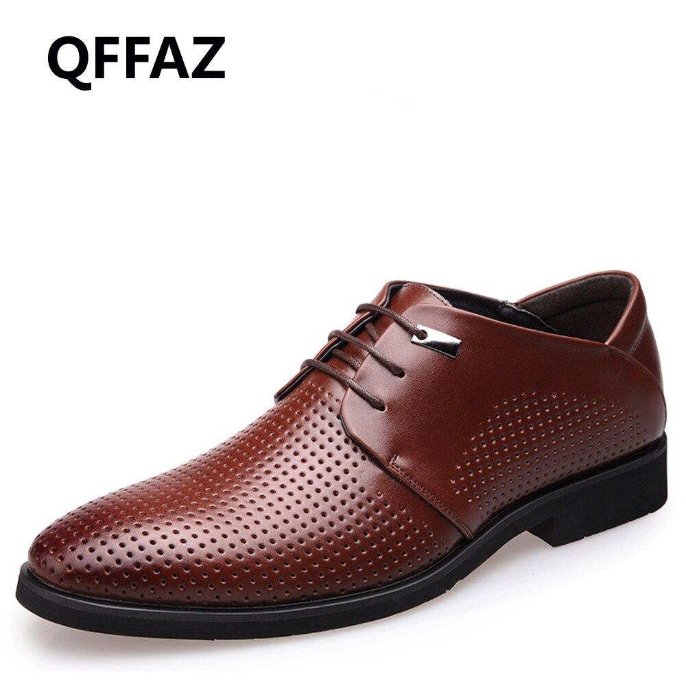 QFFAZ Brand New Top Quality Genuine Leather Shoes Men Oxford Comfortable Men Flats Dress Shoes Men