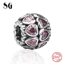Fit pandora authentic Bracelets Charms Silver 925 Original diy beads pink color love heart CZ charms jewelry making women gifts