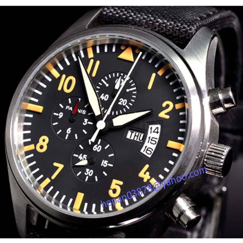 Parnis watch 42mm black dial Vingate Full chronograph date week display orange mark quartz movement Men's watch 22 цена