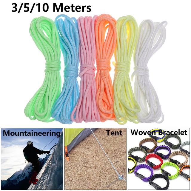 High Quality 3/5/10 Meters Survival Paracord Luminous Rope Camp Glow Paracord 550LB 7 Strands Lanyard Ropes Outdoor Ropes 2