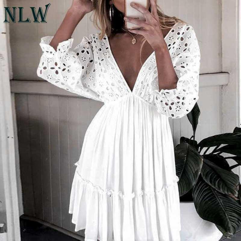 NLW élégant court hiver décontracté femmes robe col en V Sexy évider volants robe de soirée à lacets robe Vestidos