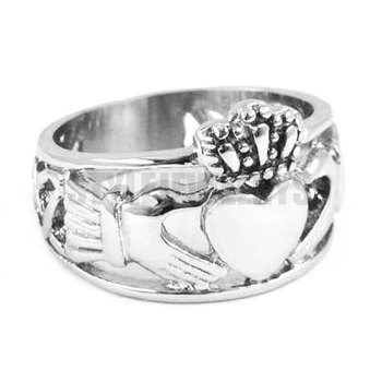 Claddagh Style Hand to Hold a Heart with Crown Ring