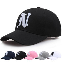 1Piece Baseball Cap Solid Color Leisure Hats With N Letter Embroidered Cap For Men And Women