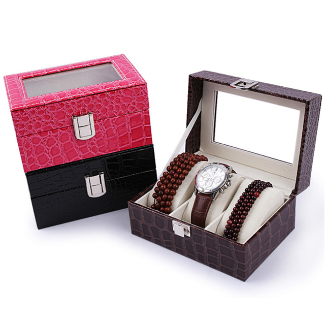 3 Slots Aivtalk Watch Box Top Quality Stripe Leather Display Case