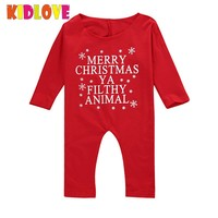 KIDLOVE Baby Girls Boys Merry Christmas Rompers Long Sleeve One Piece Jumpsuit Outfits Newborn Clothes XMas