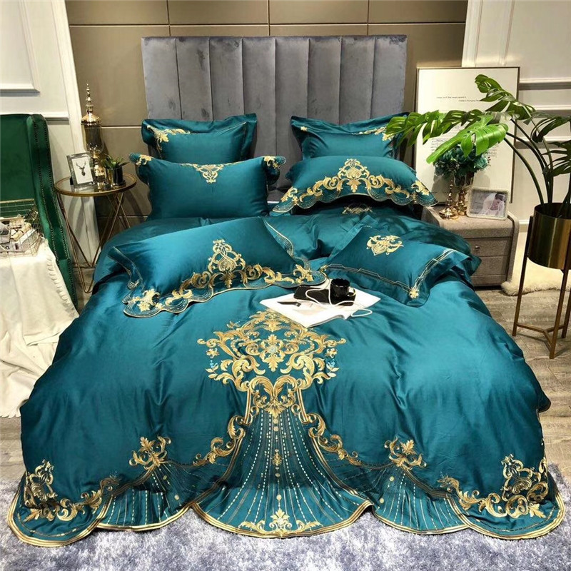 New Luxury Gold Royal Embroidery Green Blue Red Egyptian Cotton Wedding Bedding Set Duvet Cover Bed Sheet Bed Linen Pillowcase
