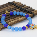 8mm unique cloisonne strand beaded blue cat eyes round beads bracelets for women hot sale jewelry 7.5inch B2730
