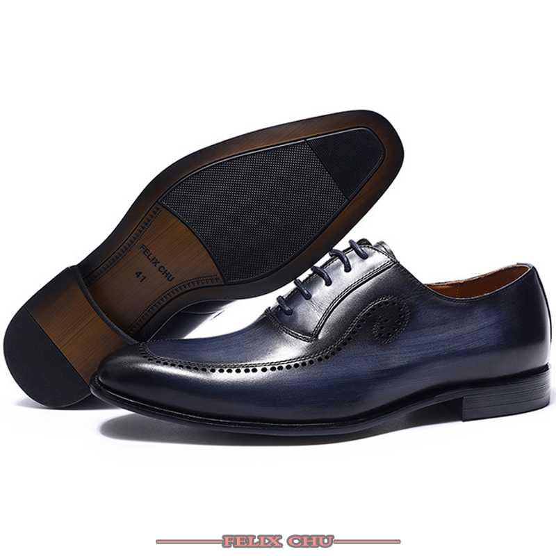 LUXURY BRAND GENUINE LEATHER SHOES MEN LACE UP OFFICE WORK SHOES SOLID FORMAL BROGUE POINTED TOE OXFORDS WEDDING SHOES SUMMER in Formal Shoes from Shoes