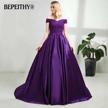 BEPEITHY V-neck Navy Blue Long Evening Dress Lace Beaded Vintage Prom Gowns Vestido De Festa Off The Shoulder Cheap Evening Gown 4