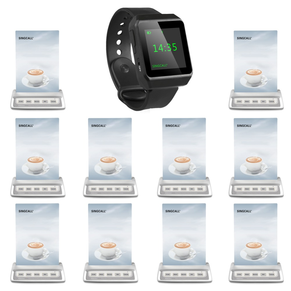 Singcall wireless restaurant calling system aid call 10 multi button guest paging plus 1 ape6800 wrist mobile receiver
