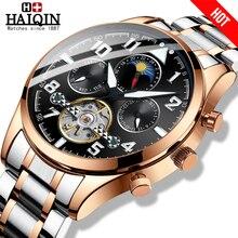 Часы наручные HAIQIN Мужские механические, брендовые Роскошные модные деловые золотистые, с турбийоном, 2019