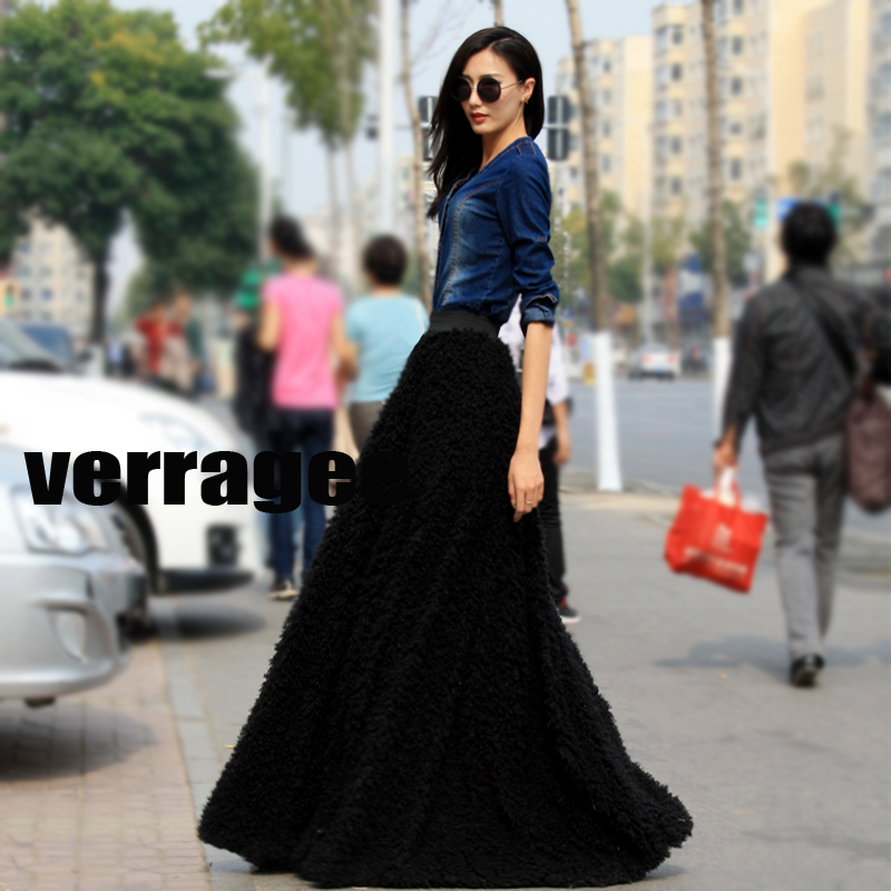 f5dd88da456 Free Shipping Ankle-Length Skirt Black Ball Gown Long Black Skirt Women  Winter Velvet Skirt