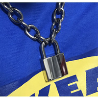 Handmade Men Women Unisex Chain Necklace Heavy Duty Square Lock Padlock Choker Metal Collar
