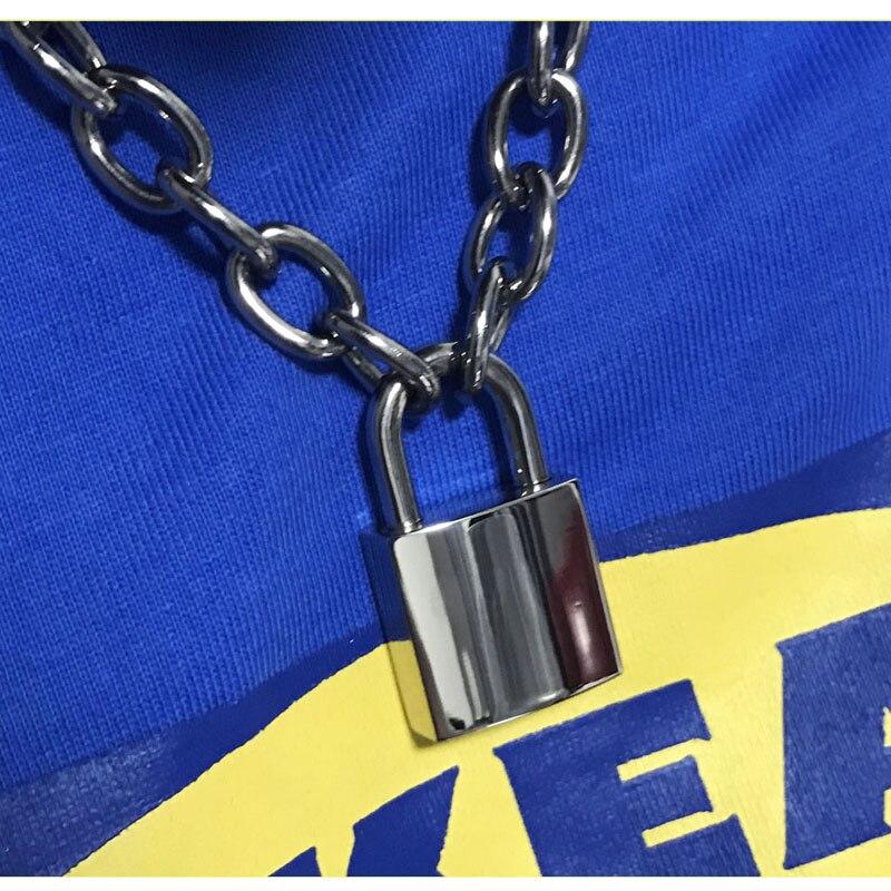 Hecho a mano de las mujeres de los hombres Unisex Collar de cadena pesada Plaza candado gargantilla Collar de Metal