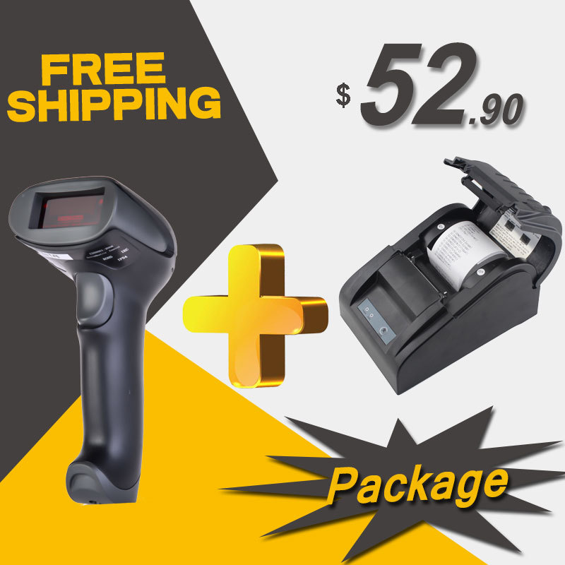 RD-2013 & RD-5890T wired barcode scanner thermal receipt printer USB Port 58mm thermal Receipt pirnter POS printer and scanner