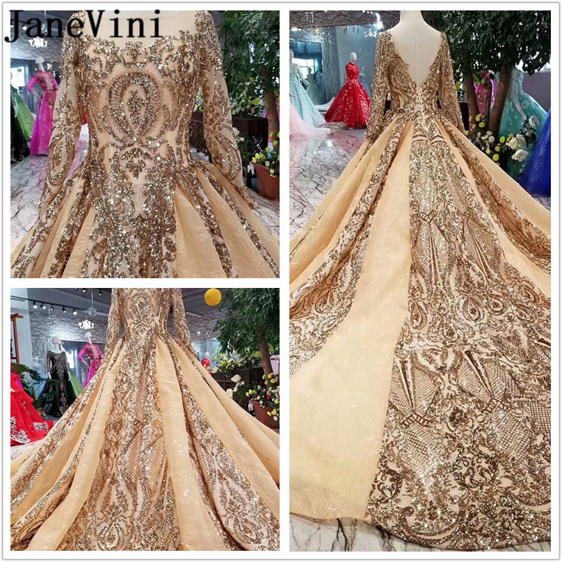 JaneVini Luxurious Gold Sequined Prom Long Elegant Dresses Lebanon Bling Long Sleeve Arabic Formal Bridesmaid Engagement Dress