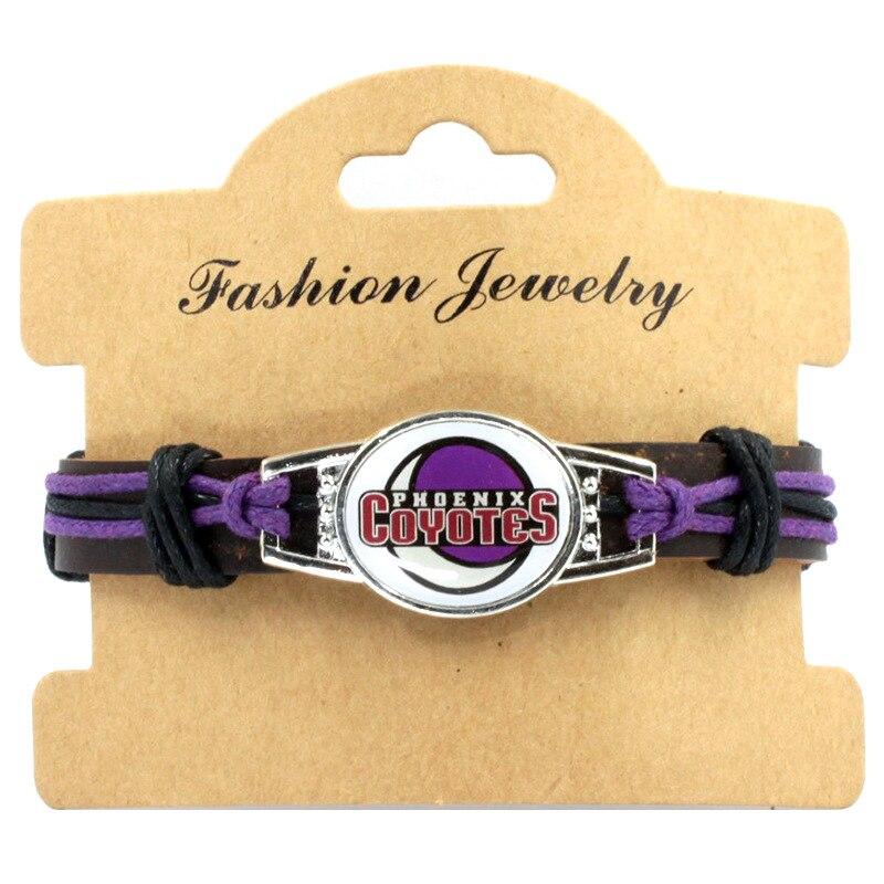 10PCS Sport Team Hockey Arizona Coyotes Retro Bracelet Jewelry Hand Made Real Leather Fashion Team Bracele Jewelry