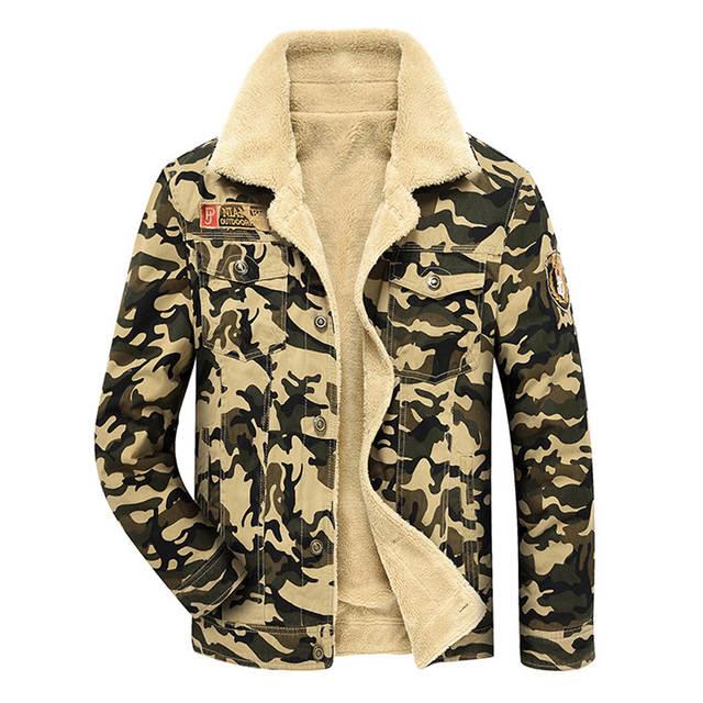 16f08ce307caf Camouflage Denim Jacket Men Winter Fur Fleece Men's Jeans Jacket Black Khaki  Army Flight Military Coat