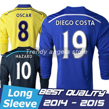Free Shipping 2015 CHELESEA Long sleeve jersey DIEGO OSCAR Best Thai  Quality 14 15 CHELESEA Jersey Football shirts ef222a9b6