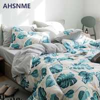 AHSNME 100% Cotton Bedlinen Nordic bedclothes bedcover Rainforest Palm Leaf Duvet Cover Pillowcase King Bedding set Bed Set