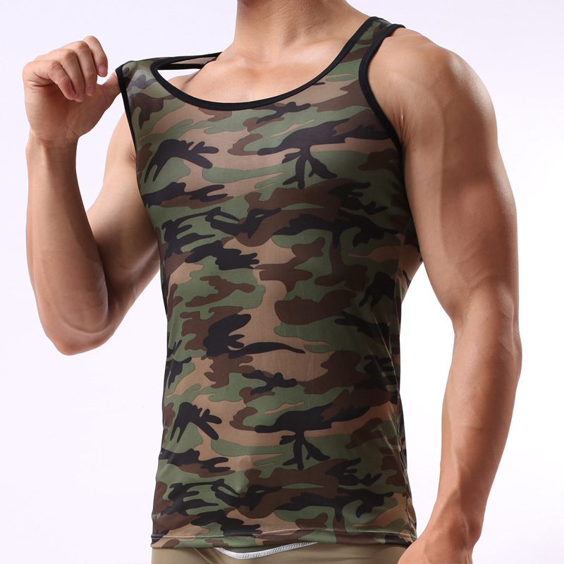 ae9e02b3ac09a 2017 Summer Camouflage Cotton Tank Top Fitness Men clothing Soldier Style  Sleeveless O neck Bodybuilding Undershirt -in Tank Tops from Men s Clothing  on ...