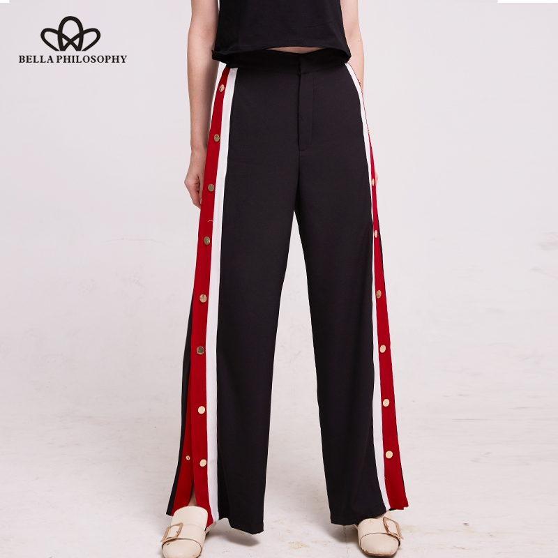 Bella Philosophy 2018 Spring Pants Women Side Button