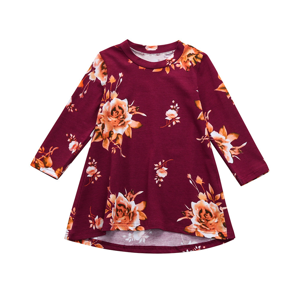 Dress Toddler Infant Kids Baby Girls Dress Floral Print Sun Dresses Clothes Outfits Children Dress Disfraz Infantil#LSJ sun flower print pleated dress