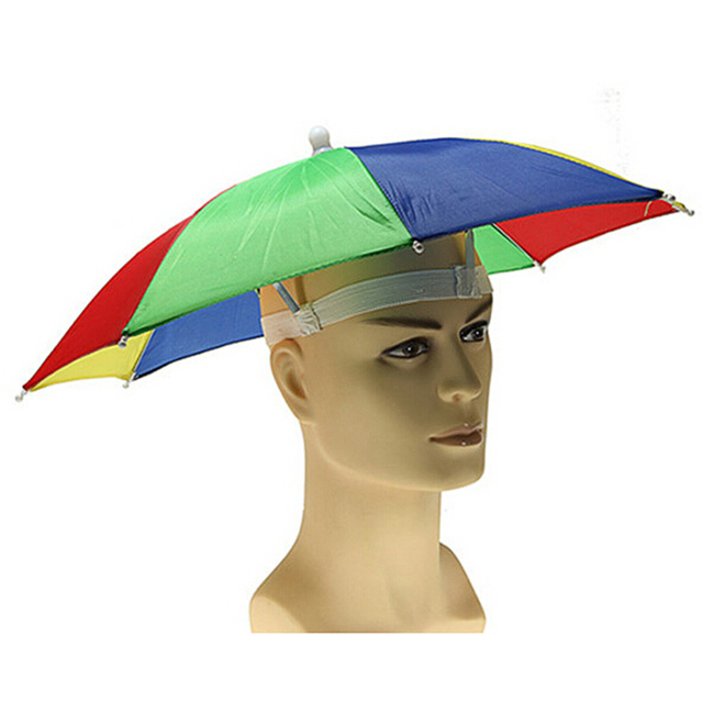 Novelty Uv Sun Protection Folding Sun Umbrella Hat Headwear Cap for Golf  Fishing Camping Fishing Hat Waterproof Random Color cea6f78f6e9