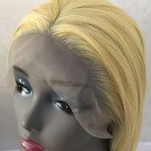 Xôn xao dư luận Thẳng Tay Tổng Hợp Gắn Ren Phía Trước Tóc Giả Mix Vàng Blonde Glueless Chịu Nhiệt Sợi Tóc Phần Miễn Phí Cho Phụ Nữ