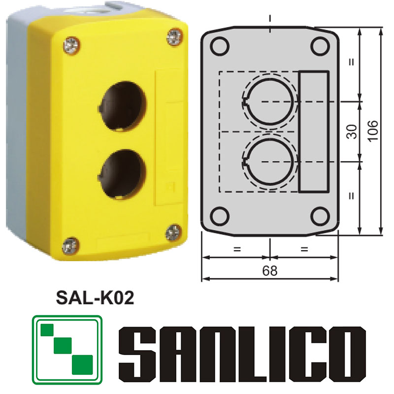 waterproof control box push button switch station IP65 SAL(LA68H XAL)-K02 (not match the SB1 series buttons)