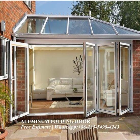 Cloison de porte pliante en aluminium, porte en verre trempé double/triple vitrage, sécurité sécurisée robuste, portes en verre accordéon isolées