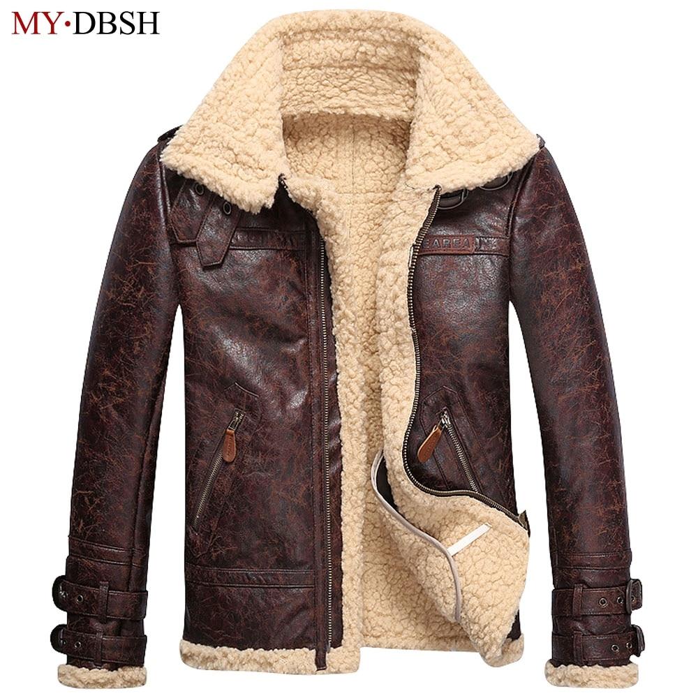 e073dfd2cfa Top Quality Leather Motorcycle Rider Jacket Vintage Man Leather Jackets  Faux Fur Fleece Jacket Men Winter Warm Fur Lining Coats